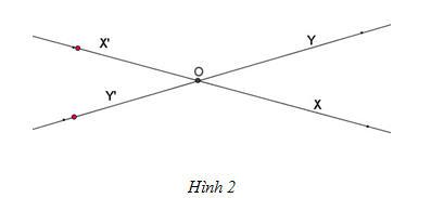 Vẽ hai đường thẳng xx' và yy' cắt nhau tại O như hình 2. Hãy điền vào chỗ  trống (…) trong các phát biểu sau :
